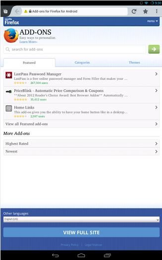 Firefox in the New and Fast Version for Android
