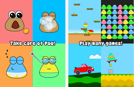 pou main features feed and take care of pou and watch it grow play