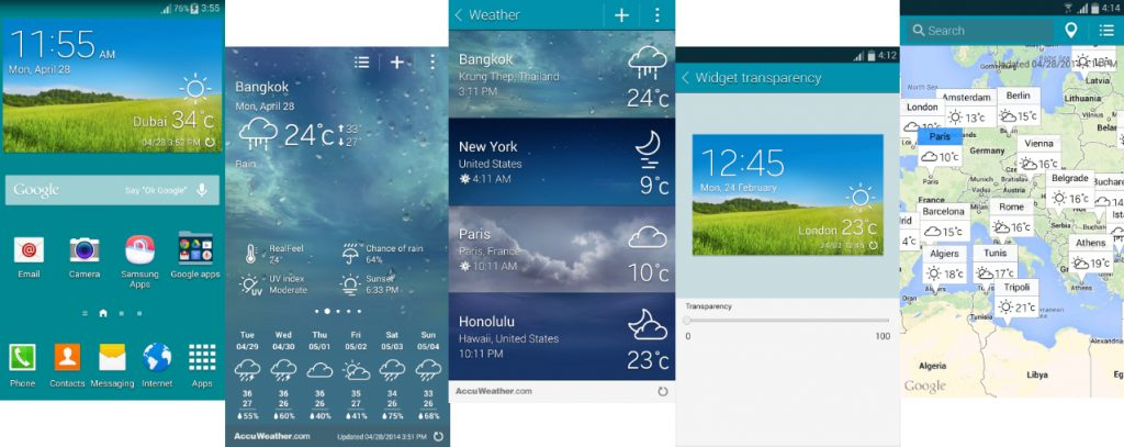 Galaxy S5 AccuWeather Widget for Galaxy S4 and Other devices