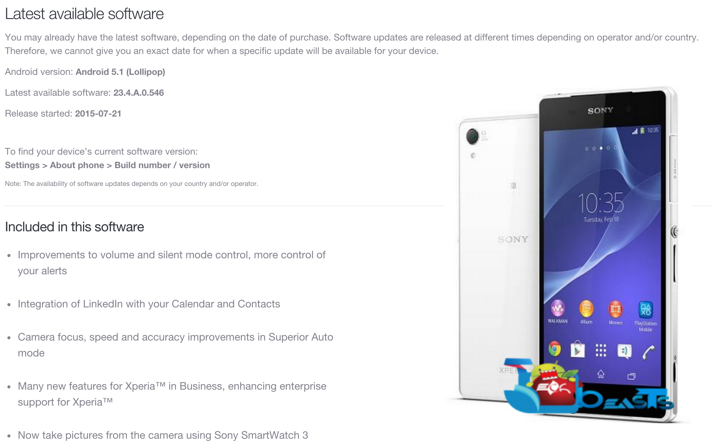 Update Sony Xperia Z2 To Android 5 1 1 23 4 A 0 546 Firmware