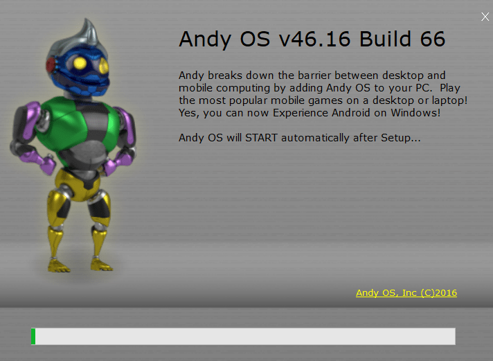Andy Android Emulator on Windows 10