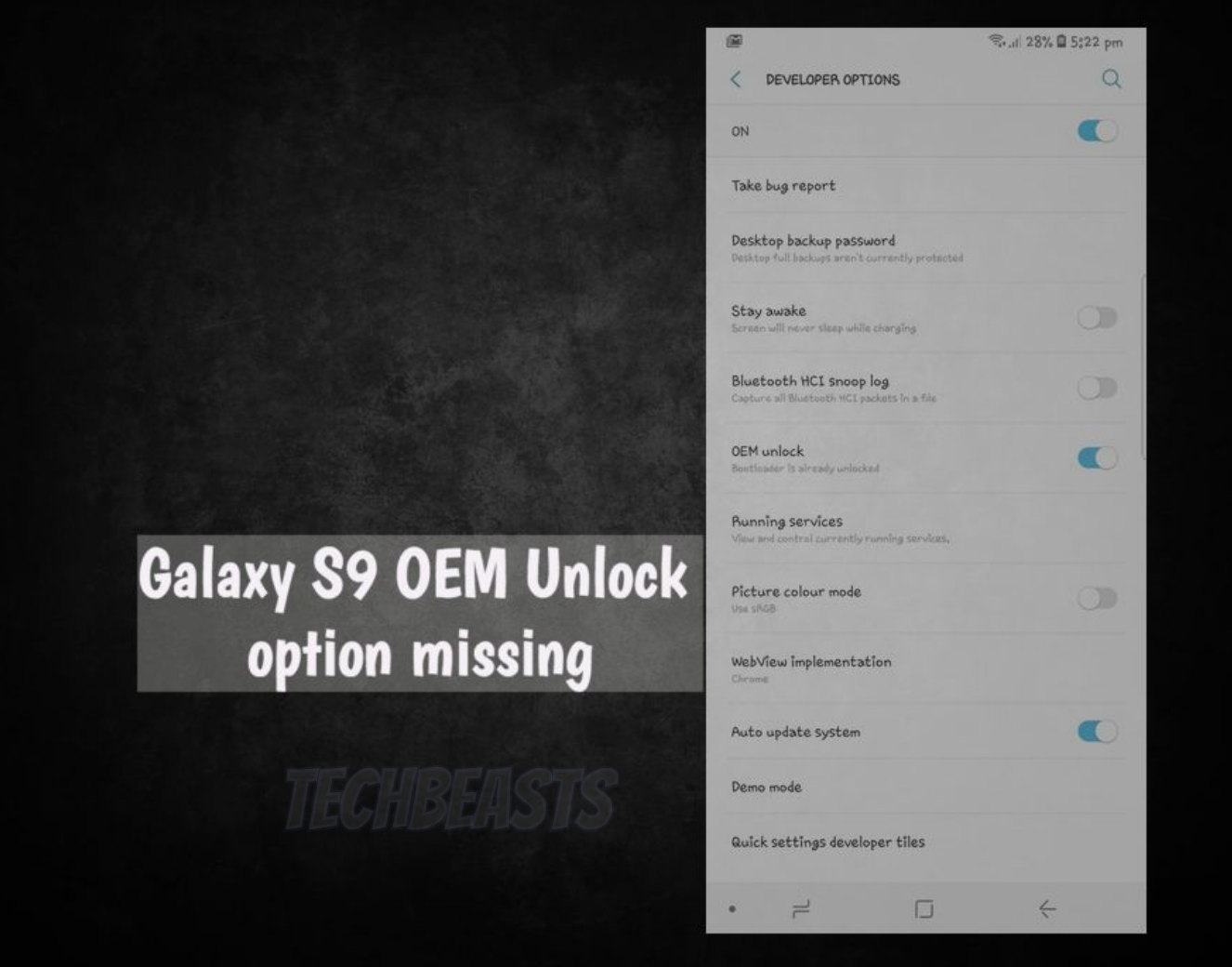 Galaxy S9 OEM Unlock Option Missing