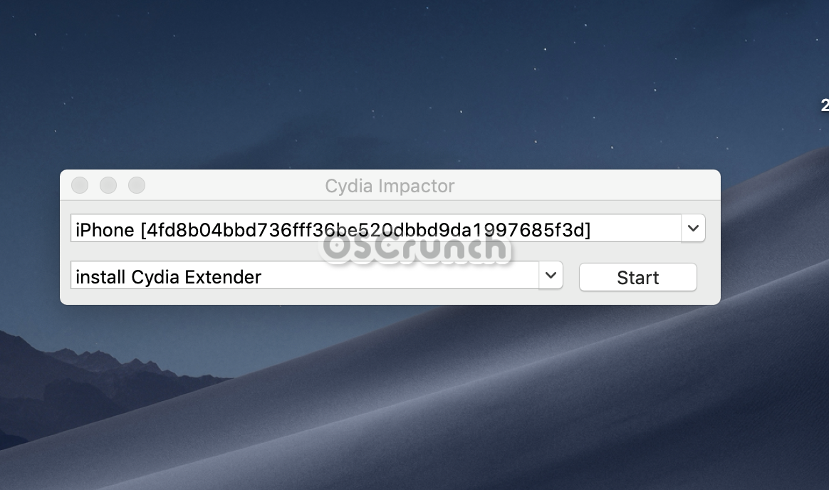 Select iPhone in Cydia Impactor