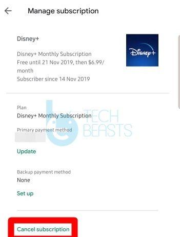 cancel Disney+ subscription