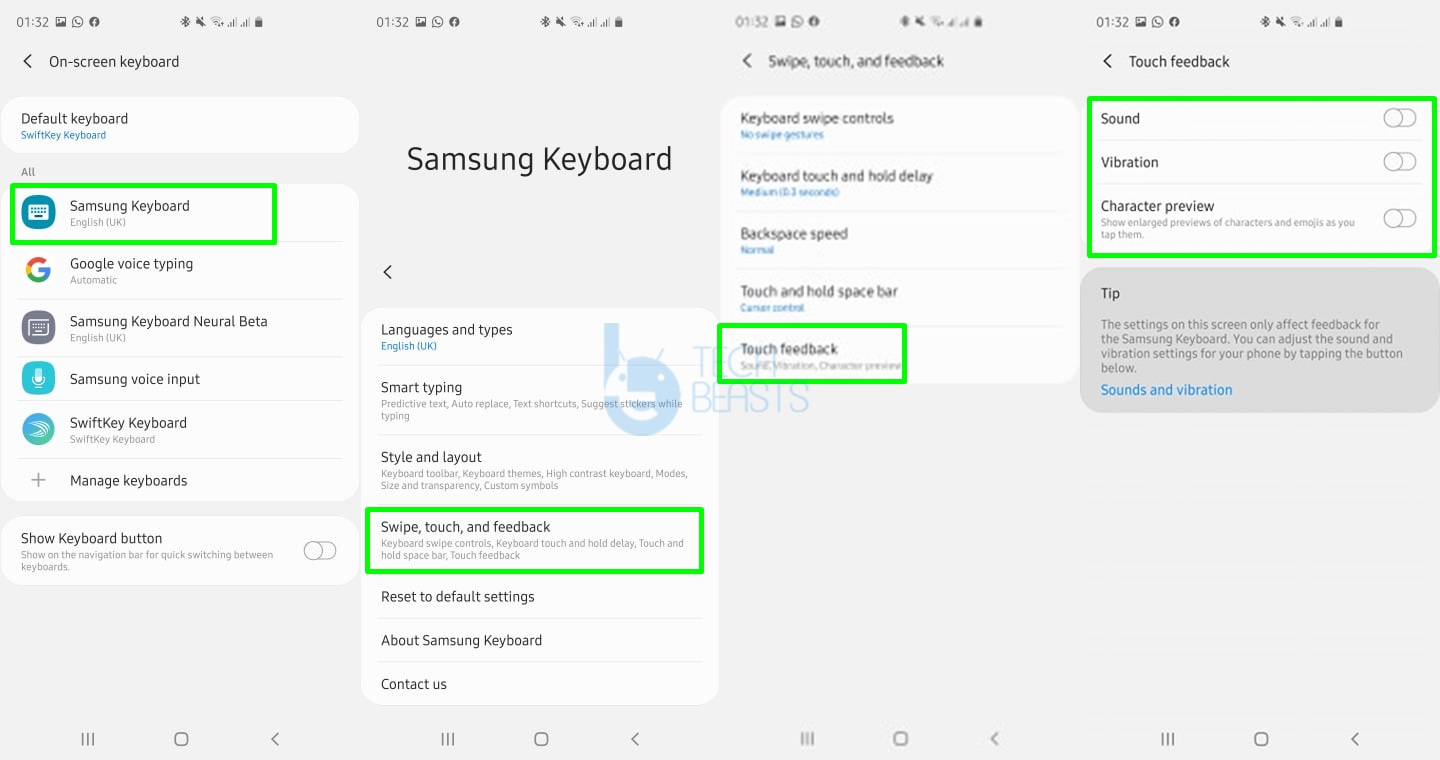 turn off samsung keyboard character preview