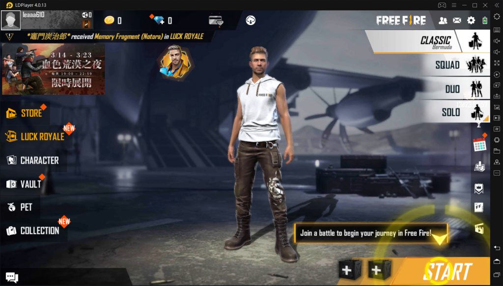 play Free Fire on PC